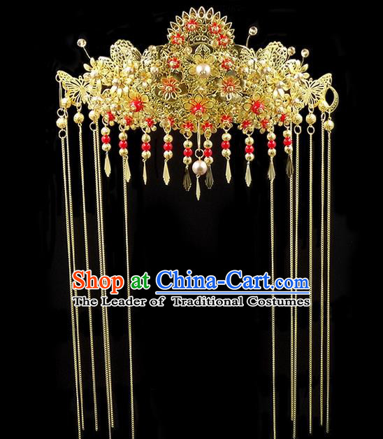 Traditional Handmade Chinese Ancient Classical Hair Accessories, Tassel Step Shake Phoenix Coronet, Bride Hair Fascinators Hairpins for Women