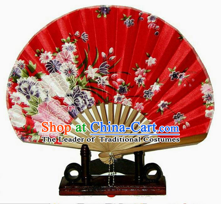 Traditional Chinese Crafts Beauty Folding Fan China Palace Red Fan Imperial Consort Bride Fans for Women