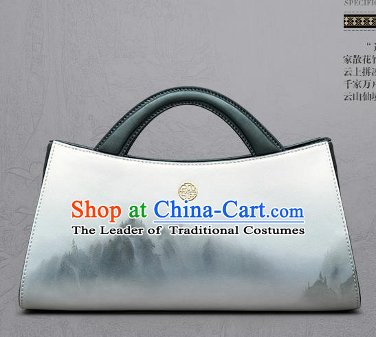 Traditional Handmade Asian Chinese Element Landscape Painting Clutch Bags National Evening Dress Handbag for Women