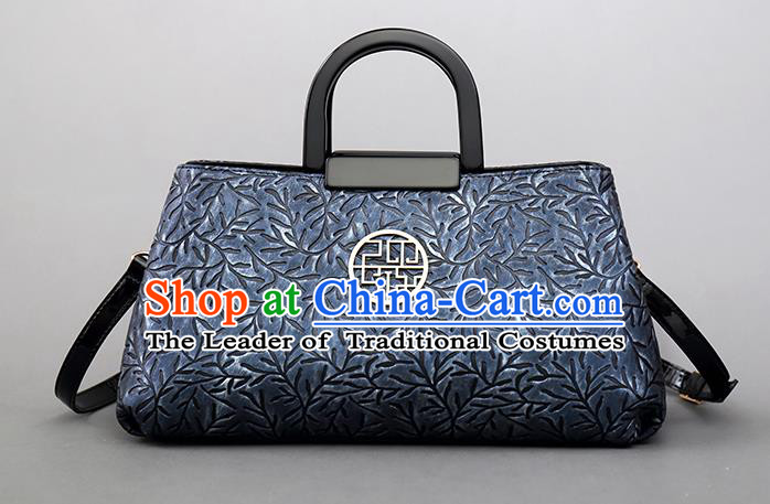Traditional Handmade Asian Chinese Element Clutch Bags Shoulder Bag National Knurling Blue Handbag for Women