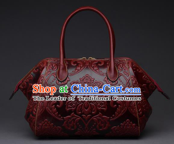 Traditional Handmade Asian Chinese Element Clutch Bags Shoulder Bag National Knurling Leather Red Handbag for Women