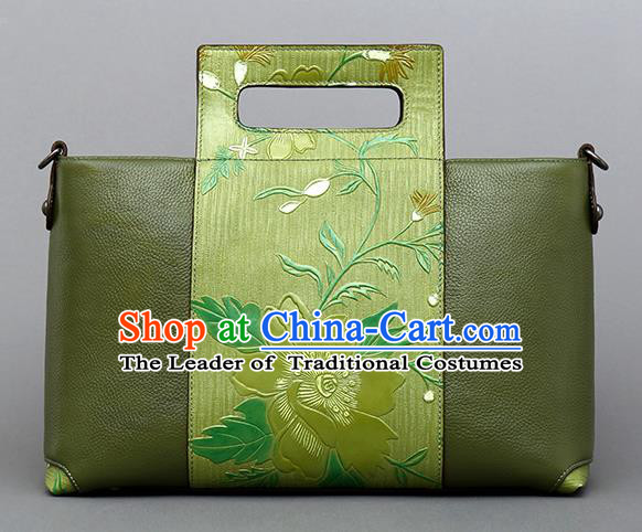 Traditional Handmade Asian Chinese Element Knurling Clutch Bags Shoulder Bag National Green Leather Handbag for Women