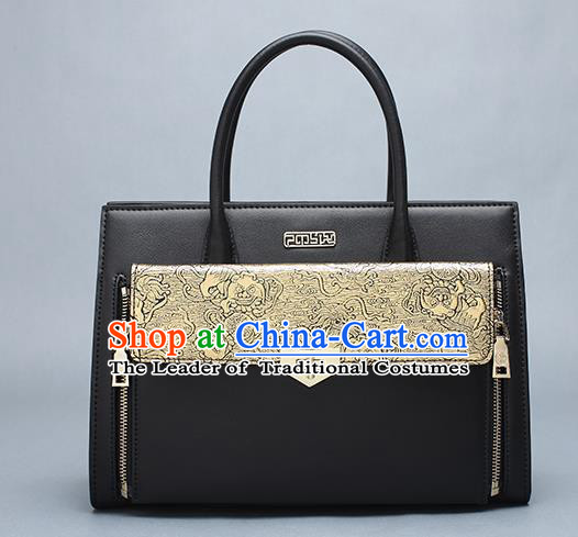 Traditional Handmade Asian Chinese Element Clutch Bags Shoulder Bag National Leather Handbag for Women