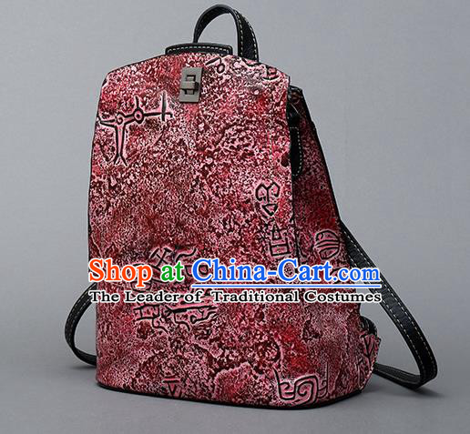 Traditional Handmade Asian Chinese Element Clutch Bags Backpack National Bronze Pattern Red Leather Handbag for Women