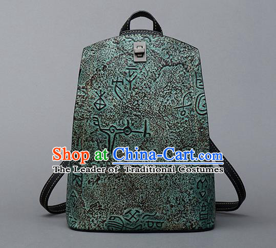Traditional Handmade Asian Chinese Element Clutch Bags Backpack National Bronze Pattern Green Leather Handbag for Women