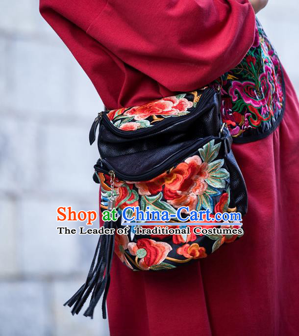 Traditional Handmade Chinese National Waist Bag Miao Nationality Embroidery Red Flowers Leather Pocket for Women