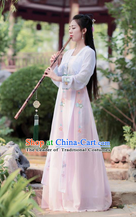 Traditional Ancient Chinese Costume Tang Dynasty Embroidery Slant Opening White Blouse and Skirt, Elegant Hanfu Clothing Chinese Princess Dress Clothing for Women