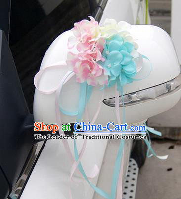 Top Grade Wedding Accessories Blue ang Pink Pincushion Decoration, China Style Wedding Car Ornament Flowers Bride Long Ribbon Garlands