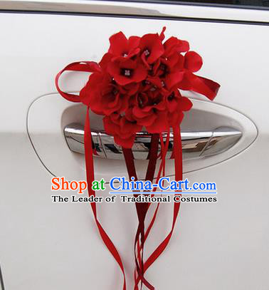 Top Grade Wedding Accessories Red Pincushion Decoration, China Style Wedding Car Ornament Flowers Bride Long Ribbon Garlands