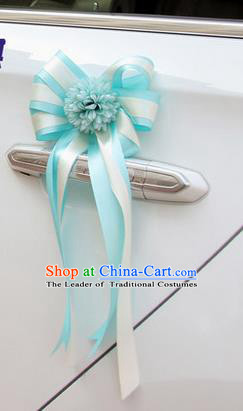 Top Grade Wedding Accessories Decoration, China Style Wedding Car Ornament Blue Flowers Bride Ribbon Garlands