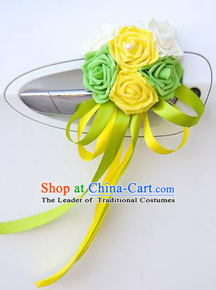 Top Grade Wedding Accessories Decoration, China Style Wedding Car Ornament Six Flowers Bride Green and Yellow Rose Ribbon Garlands