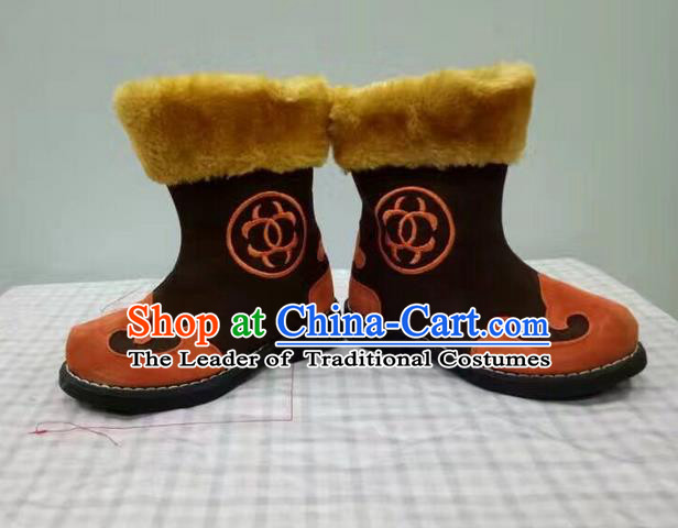 Traditional Chinese Minority Mongol Nationality Ethnic Minorities Children Mongolian Boots Brown Boots for Kids