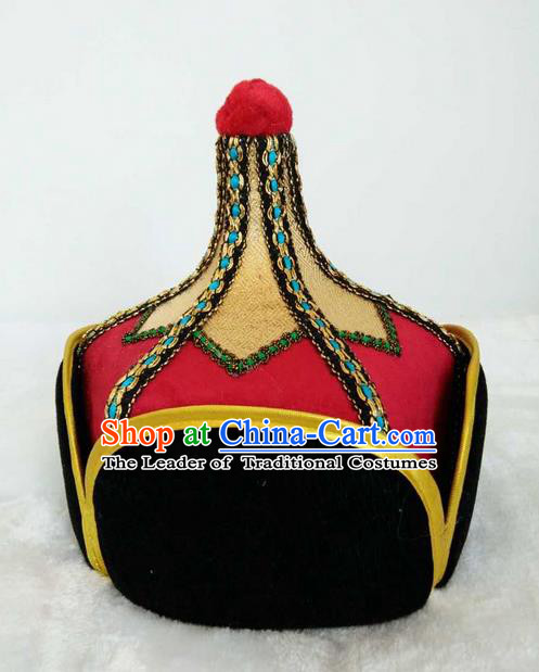 Traditional Handmade Chinese Mongol Nationality Dance Headwear Royal Highness Hat, China Mongolian Minority Nationality Prince Red Headpiece for Men