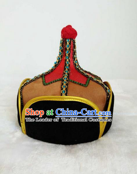 Traditional Handmade Chinese Mongol Nationality Dance Headwear Royal Highness Hat, China Mongolian Minority Nationality Prince Light Tan Headpiece for Men