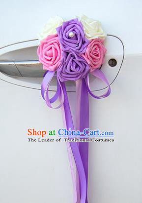 Top Grade Wedding Accessories Decoration, China Style Wedding Car Ornament Six Flowers Bride Pink Purple and White Rose Ribbon Garlands