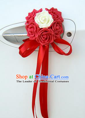 Top Grade Wedding Accessories Decoration, China Style Wedding Car Ornament Six Flowers Bride Red Rose Ribbon Garlands
