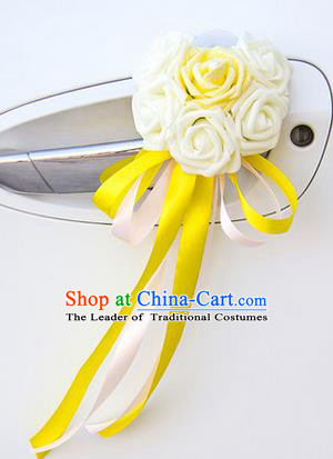 Top Grade Wedding Accessories Decoration, China Style Wedding Car Ornament Six Flowers Bride Rose Yellow Ribbon Garlands