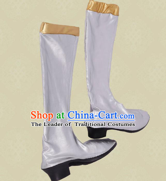 Traditional Chinese Minority Mongol Nationality Dance White Shoes, Ethnic Minorities Mongolian Boots for Women