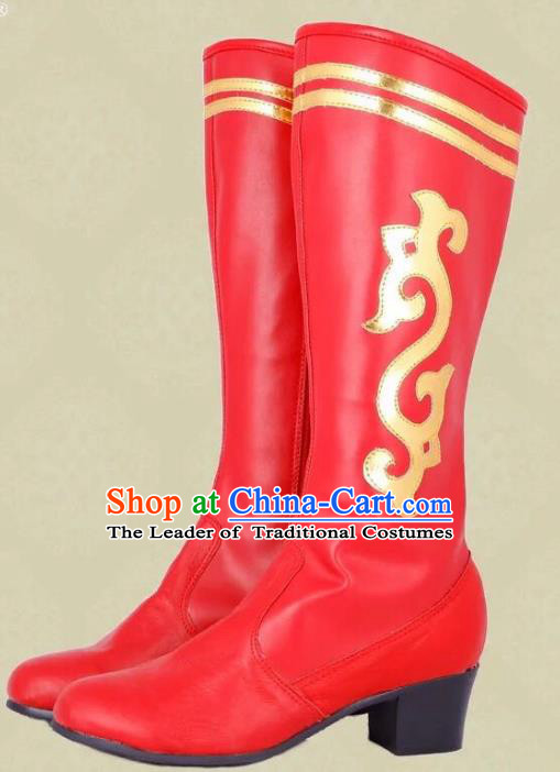Traditional Chinese Minority Mongol Nationality Ethnic Minorities Mongolian Boots Red Wedding Boots for Women