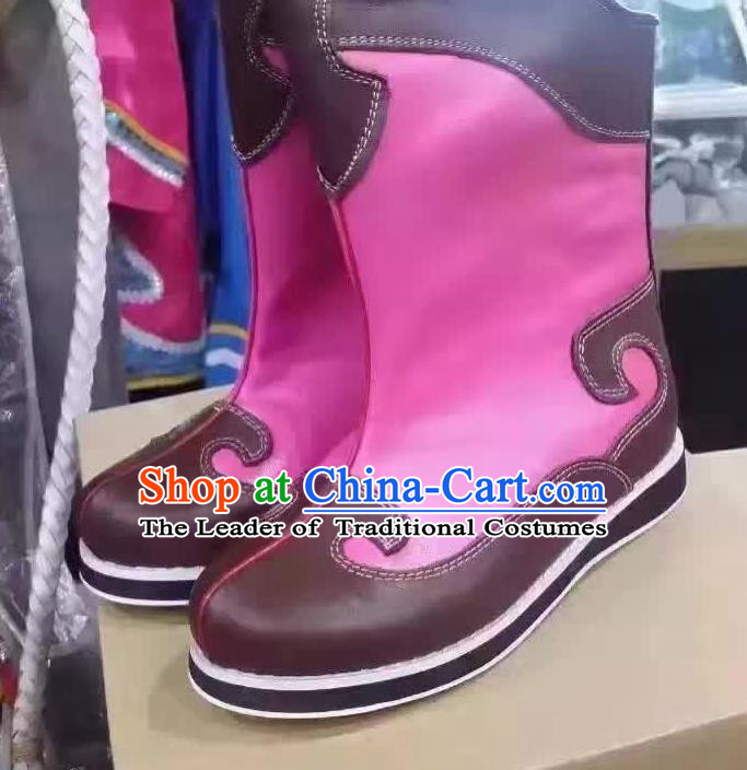 Traditional Chinese Minority Mongol Nationality Dance Pink Shoes, Ethnic Minorities Mongolian Boots for Kids