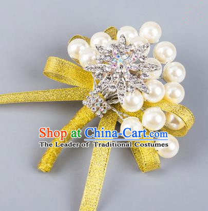 Top Grade Wedding Accessories Decoration Pearl Corsage, China Style Wedding Ornament Champagne Bride Bridegroom Yellow Ribbon Crystal Brooch