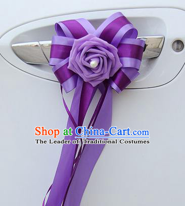 Top Grade Wedding Accessories Decoration, China Style Wedding Car Bowknot Purple Flowers Bride Purple Long Ribbon Garlands Ornaments