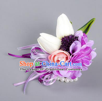 Top Grade Classical Wedding Silk Purple Flowers, Bride Emulational Wrist Flowers Bridesmaid Bracelet Flowers for Women