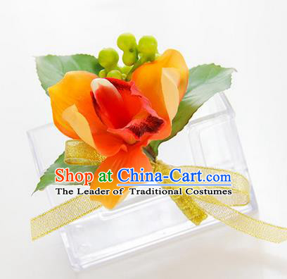Top Grade Classical Wedding Orange Silk Flowers,Groom Emulational Corsage Groomsman Brooch Flowers for Men