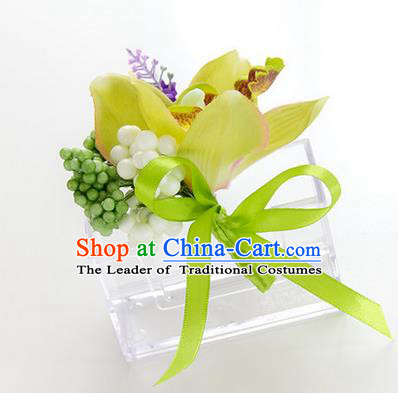 Top Grade Classical Wedding Green Silk Whelan Flowers,Groom Emulational Corsage Groomsman Brooch Flowers for Men