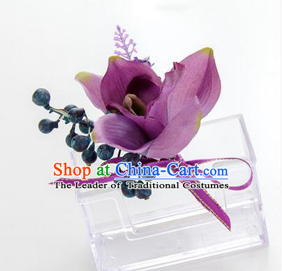 Top Grade Classical Wedding Bacca Purple Silk Flowers,Groom Emulational Corsage Groomsman Brooch Flowers for Men