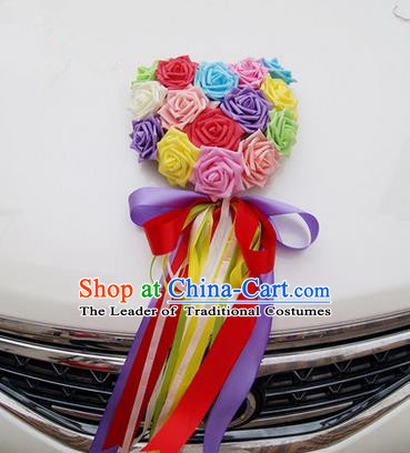 Top Grade Wedding Accessories Decoration, China Style Wedding Car Ornament Colorful Flowers Floriculture
