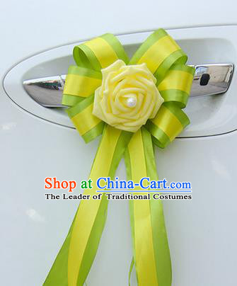 Top Grade Wedding Accessories Decoration, China Style Wedding Car Bowknot Yellow Flowers Bride Long Ribbon Garlands Ornaments