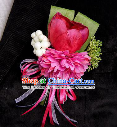 Top Grade Classical Wedding Red Silk Tulipa Flowers,Groom Emulational Corsage Groomsman Brooch Flowers for Men