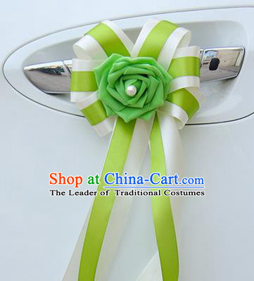 Top Grade Wedding Accessories Decoration, China Style Wedding Car Bowknot Green Flowers Bride Long Ribbon Garlands Ornaments