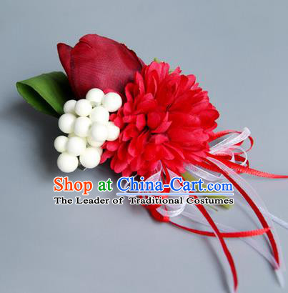 Top Grade Classical Wedding Silk Tulipa Flowers, Bride Emulational Wrist Flowers Bridesmaid Bracelet Flowers for Women