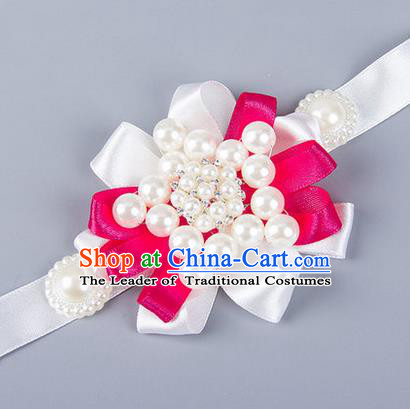 Top Grade Classical Wedding Pearl White Ribbon Bangle, Bride Emulational Wrist Flowers Bridesmaid Bracelet Flowers for Women