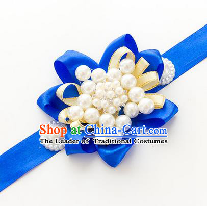 Top Grade Classical Wedding Pearl Blue Ribbon Bangle, Bride Emulational Wrist Flowers Bridesmaid Bracelet Flowers for Women