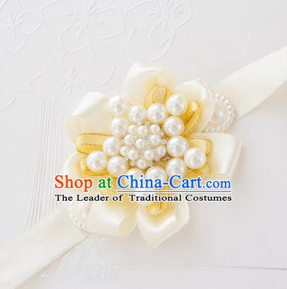Top Grade Classical Wedding Pearl Yellow Ribbon Bangle, Bride Emulational Wrist Flowers Bridesmaid Bracelet Flowers for Women