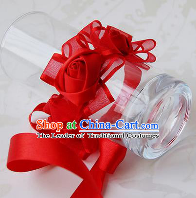 Top Grade Classical Wedding Ribbon Red Silk Flowers, Bride Emulational Wrist Flowers Bridesmaid Bracelet Flowers for Women