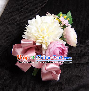 Top Grade Classical Wedding Cameo Brown Ribbon Silk Flowers,Groom Emulational Corsage Groomsman Brooch Flowers for Men