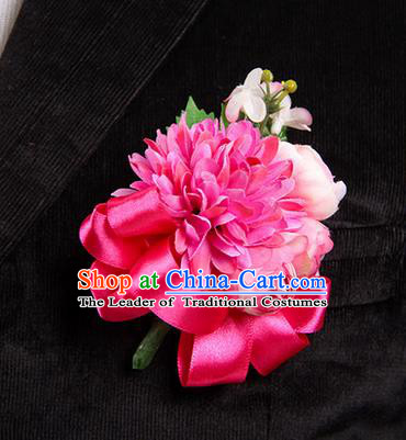 Top Grade Classical Wedding Rosy Ribbon Silk Flowers,Groom Emulational Corsage Groomsman Brooch Flowers for Men