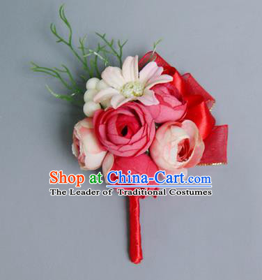 Top Grade Classical Wedding Red Silk Flowers,Groom Emulational Corsage Brooch Flowers for Men