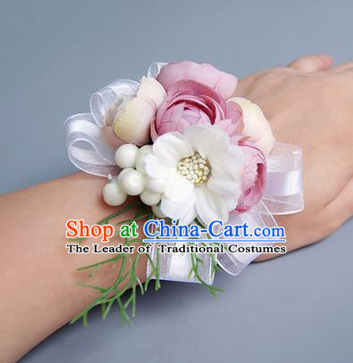 Top Grade Classical Wedding Dusty Pink Silk Flowers, Bride Emulational Wrist Flowers Bridesmaid Bracelet Flowers for Women