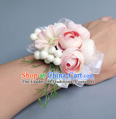 Top Grade Classical Wedding Light Pink Silk Flowers, Bride Emulational Wrist Flowers Bridesmaid Bracelet Flowers for Women