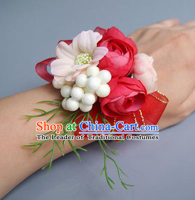 Top Grade Classical Wedding Red Silk Flowers, Bride Emulational Wrist Flowers Bridesmaid Bracelet Flowers for Women