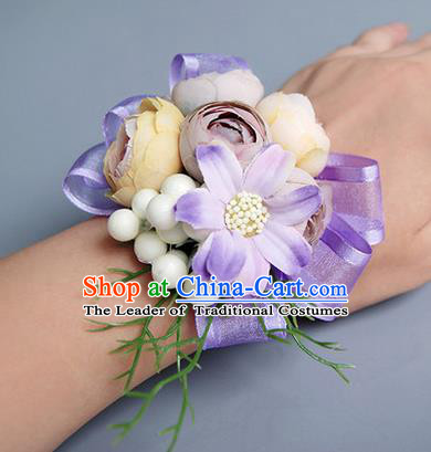 Top Grade Classical Wedding Lilac Silk Flowers, Bride Emulational Wrist Flowers Bridesmaid Bracelet Flowers for Women