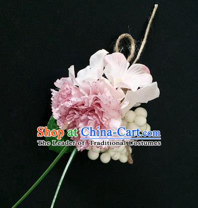 Top Grade Classical Wedding Silk Flowers,Emulational Corsage Bride Pink Brooch Flowers for Women