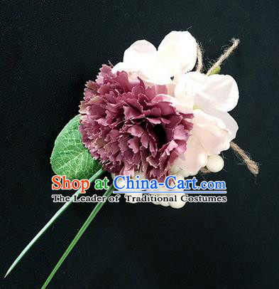 Top Grade Classical Wedding Silk Flowers,Emulational Corsage Bride Dusty Pink Brooch Flowers for Women