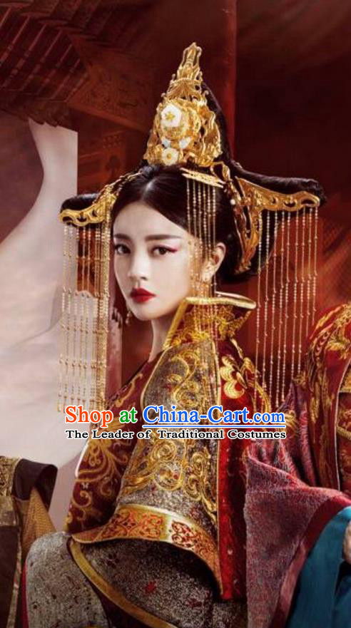 Traditional Ancient Chinese Han Dynasty Imperial Empress Handmade Headpiece Phoenix Coronet Hairpins Tassel Step Shake Headwear Complete Set