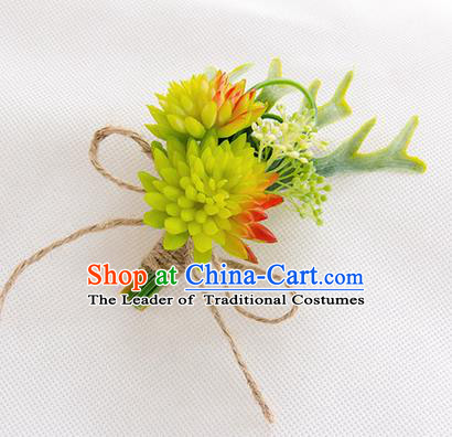 Top Grade Classical Wedding Succulents Flowers,Groom Emulational Corsage Groomsman Light Green Brooch Flowers for Men